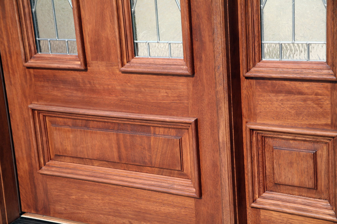 Exterior Solid Mahogany Door Early American Stain Color