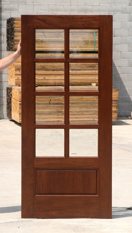 Clearance 8 Light Mahogany Exterior Door