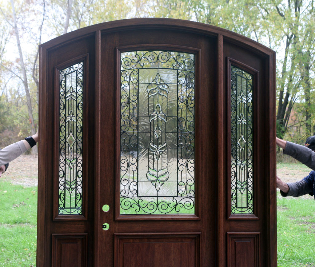 868 #588A41 The Bellagio Pre Finished Radius Arched Top Door save image Full Glass Front Doors 40271024