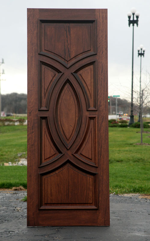 mahogany front door arched panels - Single Exterior Doors