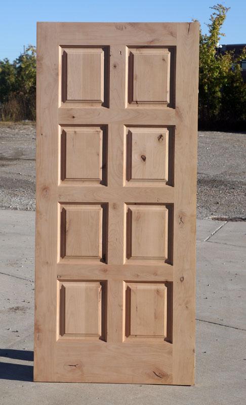 Rustic Exterior Doors With 8 Panels Solid Knotty Alder Wood Door
