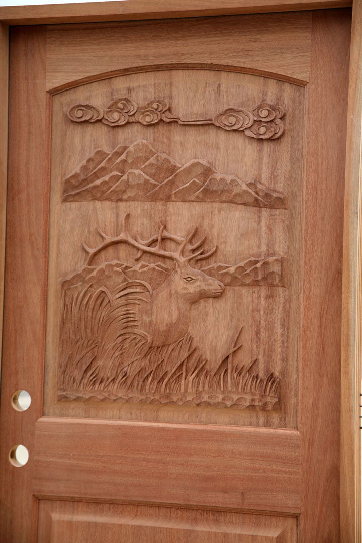 Carved Mahogany Doors Elk