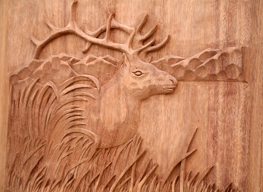 Carved Mahogany Doors Elk