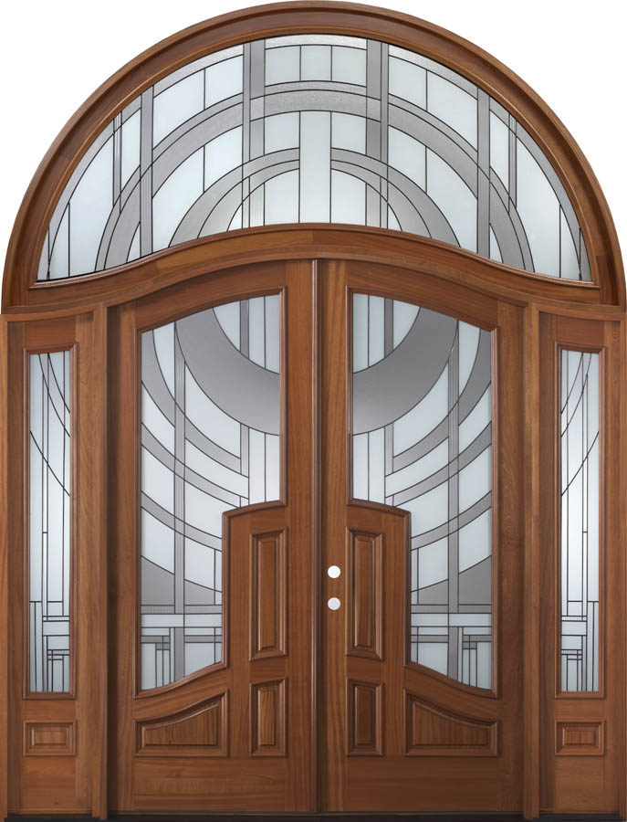 Arch Top Double Door With Transom And Sidelights