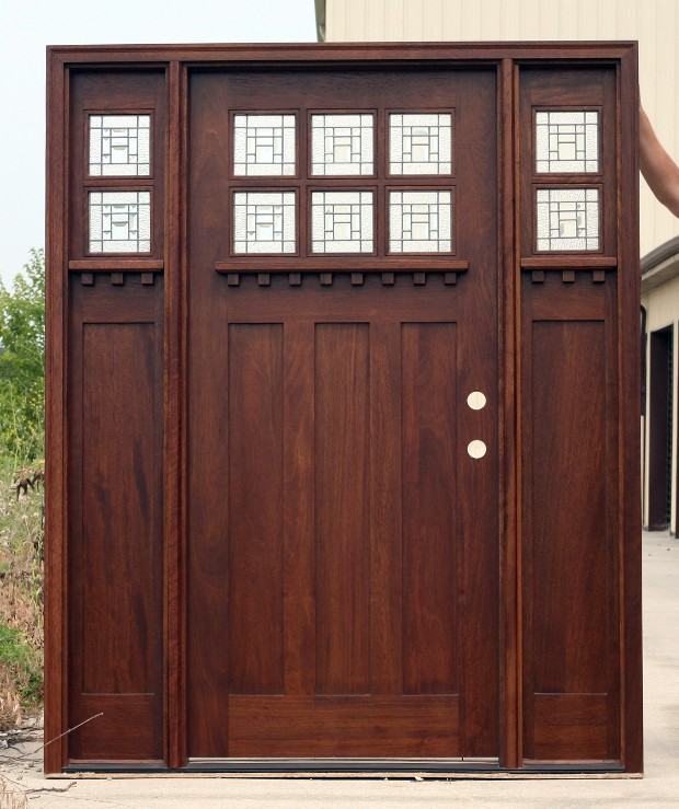 Mahogany Exterior Door Arts And Crafts Ac 901 2 301 Sidelights Art Glass EBay