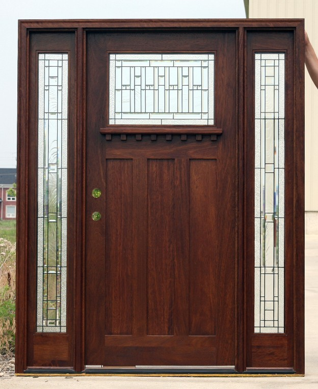 Mahogany Exterior Door Arts And Crafts Ac 401 2 101 Sidelights Art Glass EBay