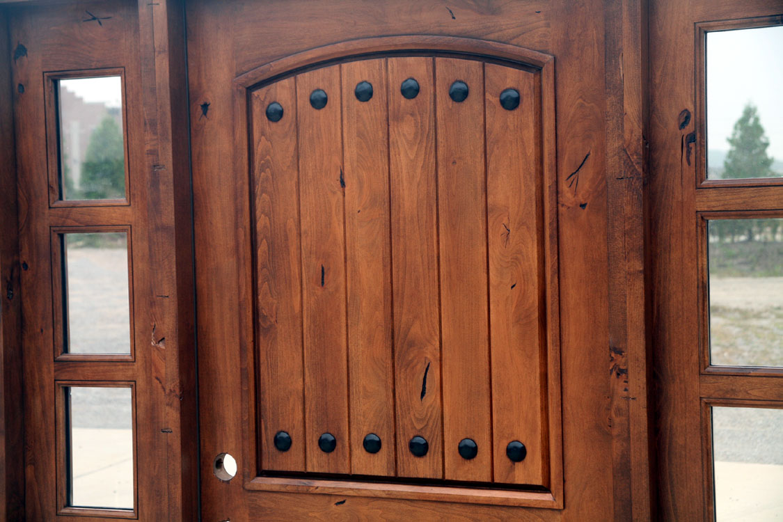 & Rustic Tuscany Knotty Alder entry doors with Sidelights