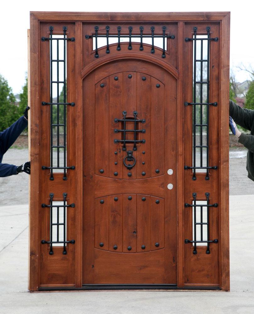 Rustic doors exterior alder doors arch top door for Rustic exterior doors