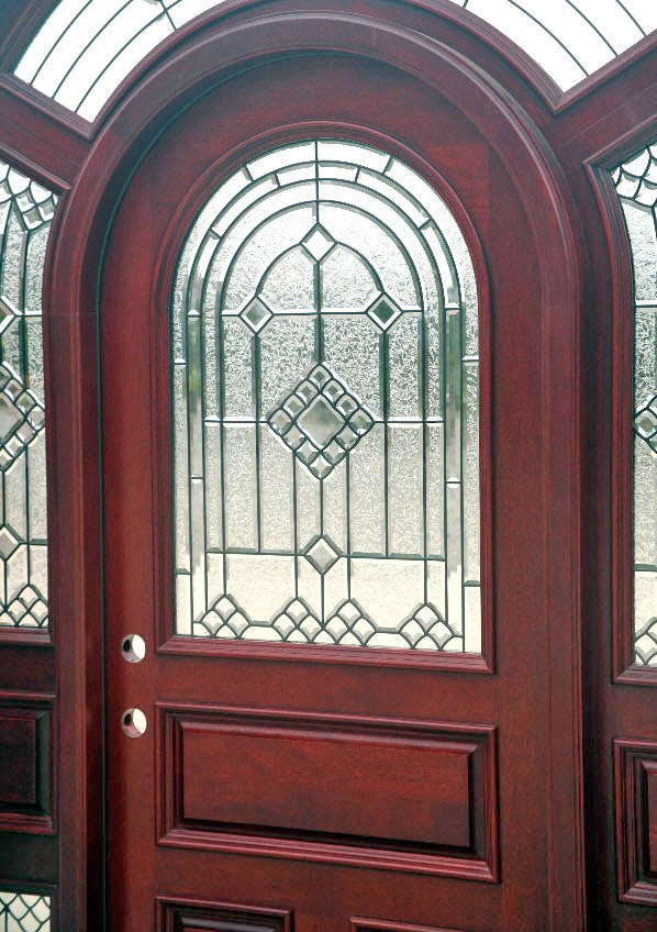 Arched Mahogany Door System With Surround Transom