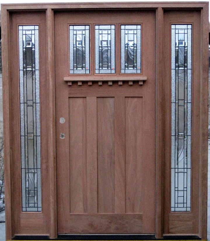 Door Size 3 0 X 6 8 14 Sidelights Solid Brazilian Mahogany 4 9 16 Jamb Right Hand Or Left Swing Double Bored