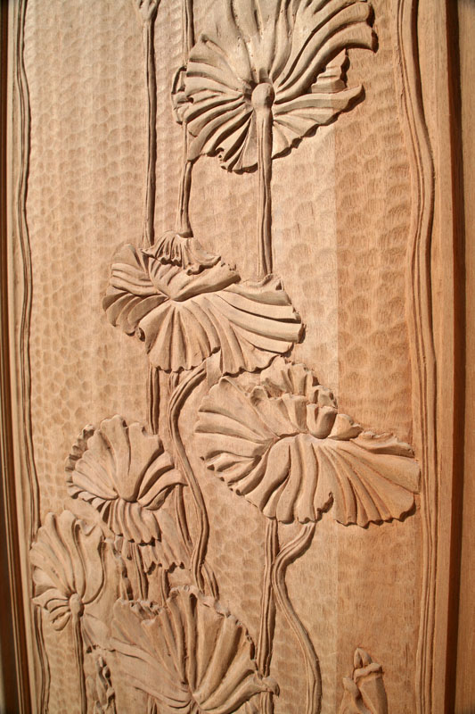 Carved Entry Doors Poppy Theme