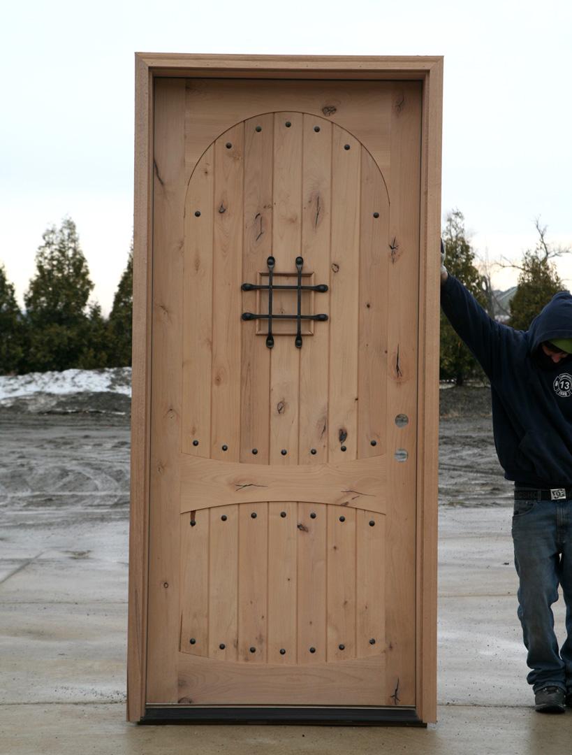 Rustic door 46 in x 97 5 in luce lattice classic 3 4 for Wide exterior door