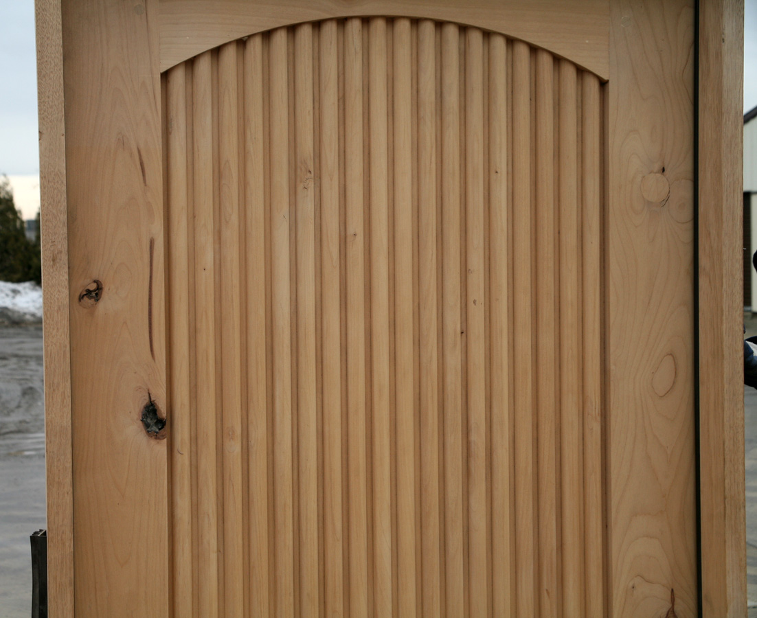 Knotty Alder Exterior Double Doors Fluted Panels