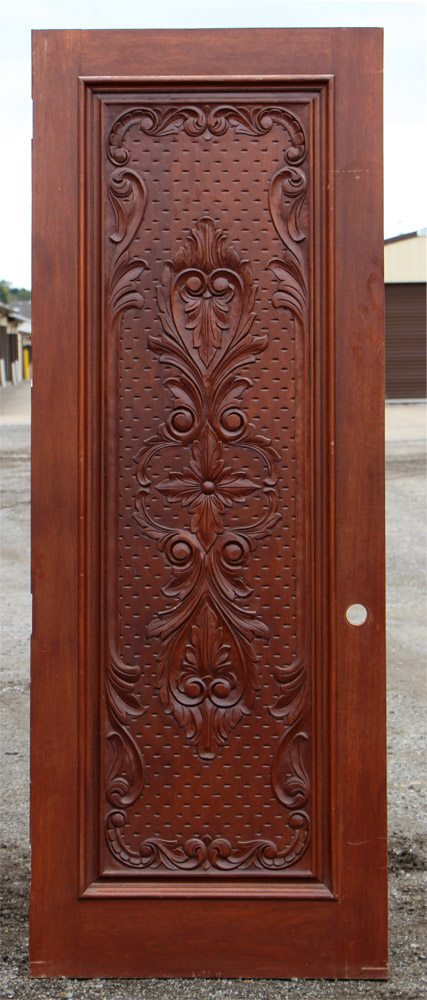 Carved Exterior Single Doors Mahogany Cl 51