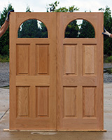 Oak Double doors with glass windows half round