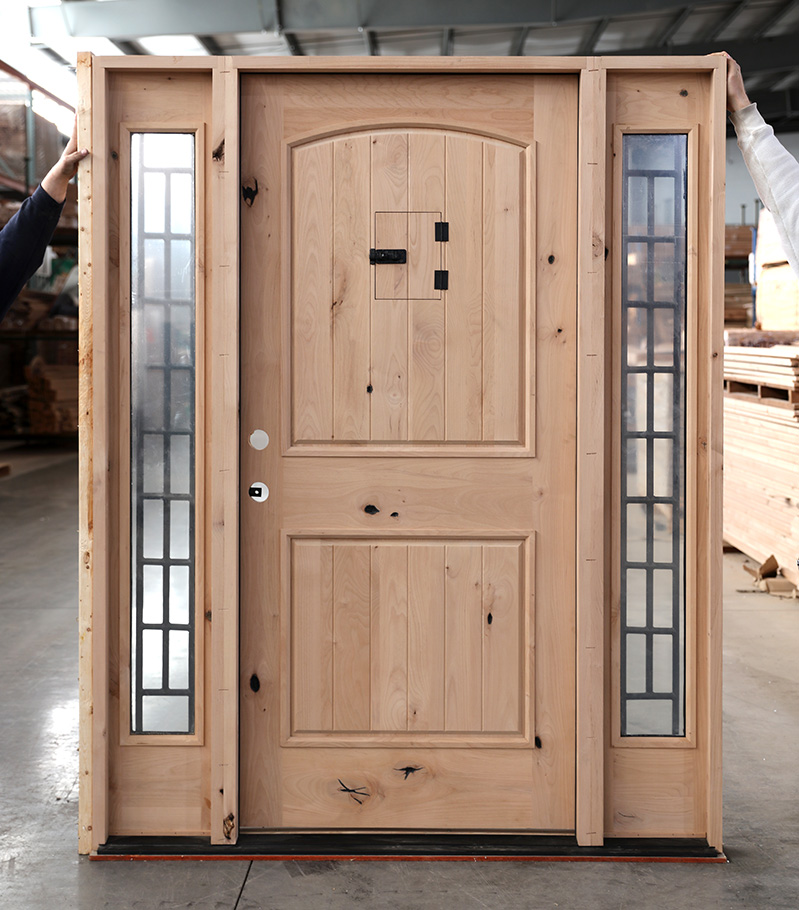 Rustic Knotty Alder Outswing Exterior Door With Sidelights