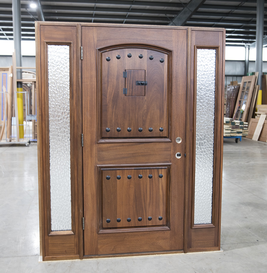 Mahogany Rustic Exterior Door And Sidelights
