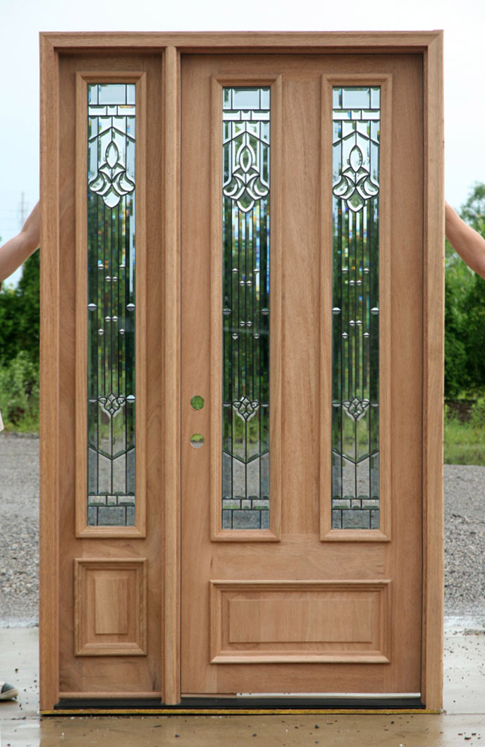 Solid Mahogany Door Exterior Wood Door With 1 Sidelight