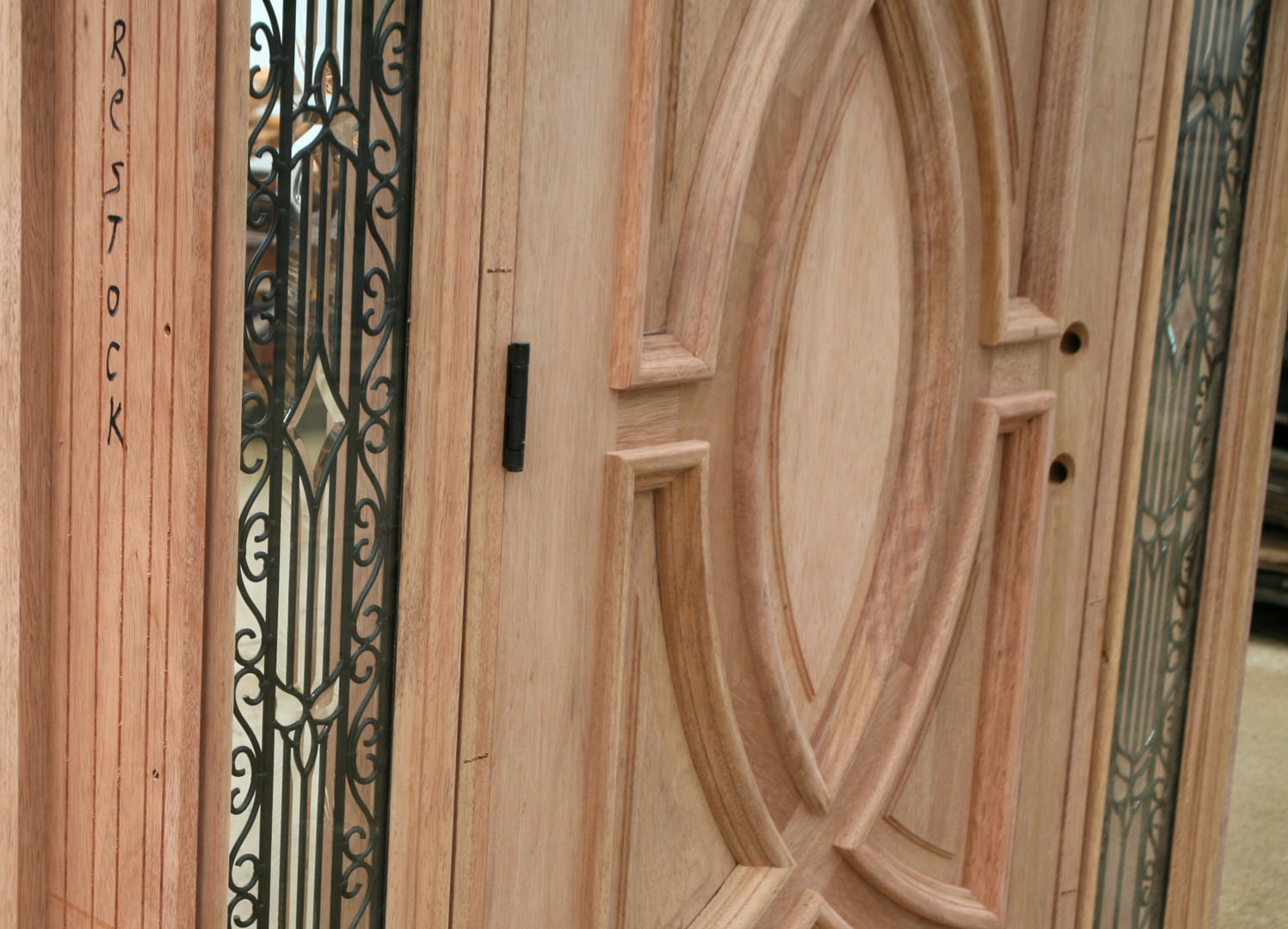 1080 #8B5A40 Exterior Wood Door And Wrought Iron Glass Olympus Series pic Metal Entry Doors With Sidelights 39211497