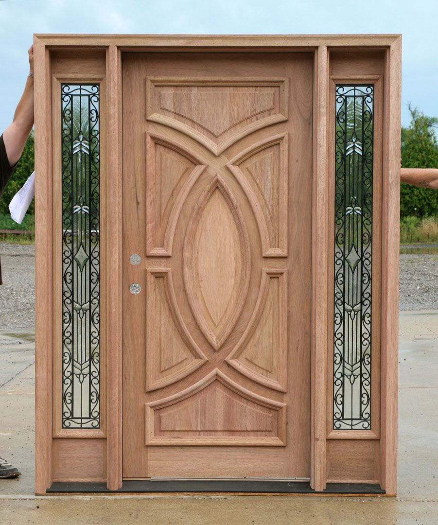 Exterior wood doors with wrought iron glass sidelights Outside door design