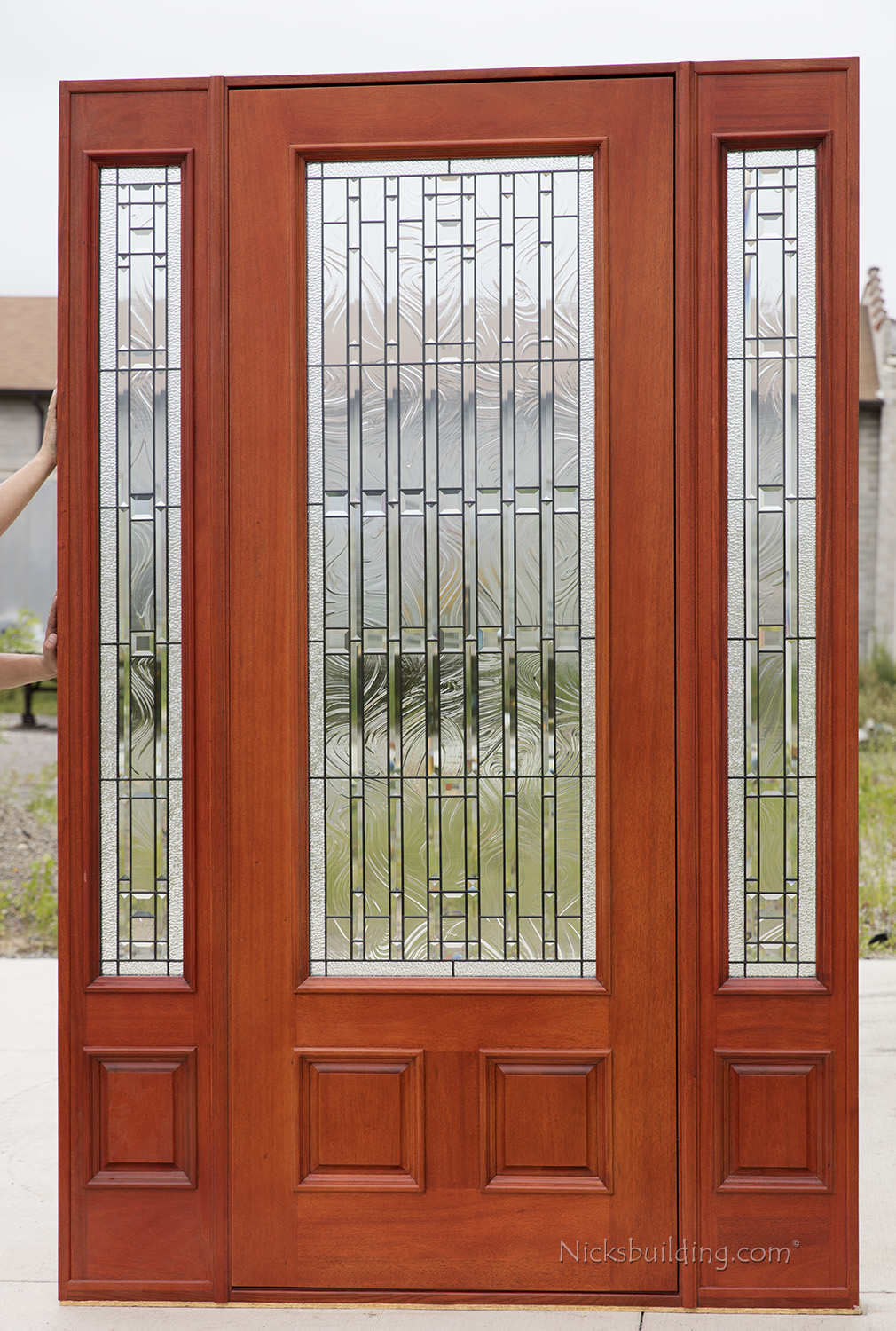 Exterior mahogany doors pfc 252 walnut stained for 8 foot exterior doors