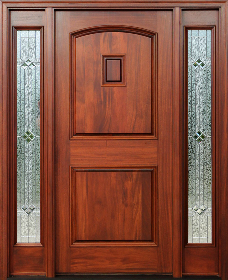 Red mahogany doors with sidelights pre finished - Prefinished mahogany interior doors ...