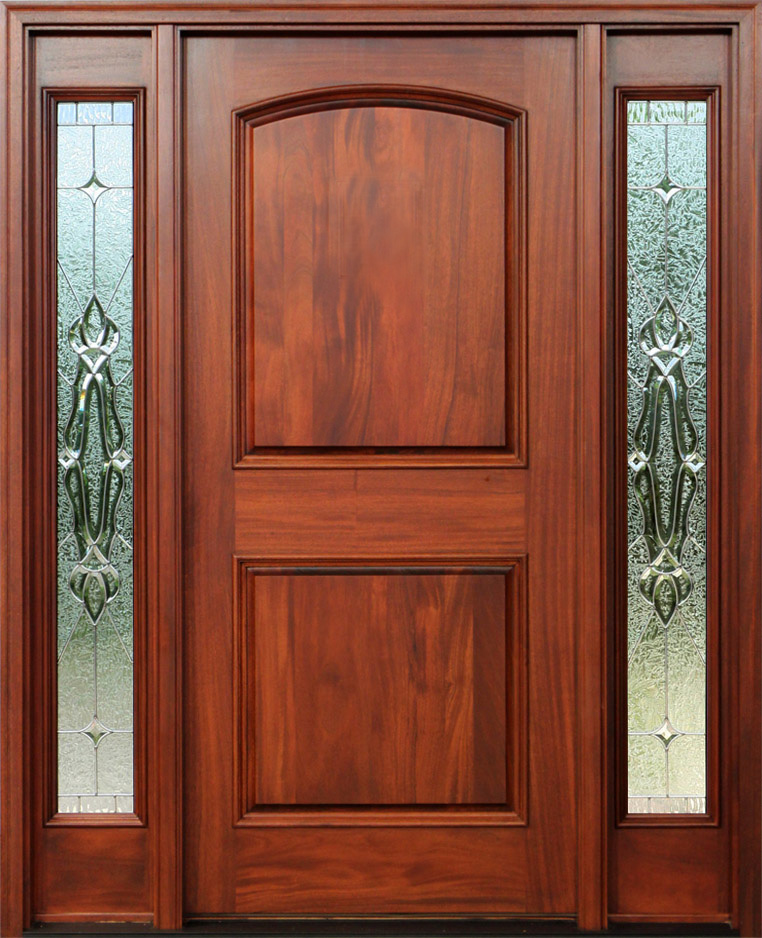 Red mahogany doors with sidelights pre finished for Interior exterior doors