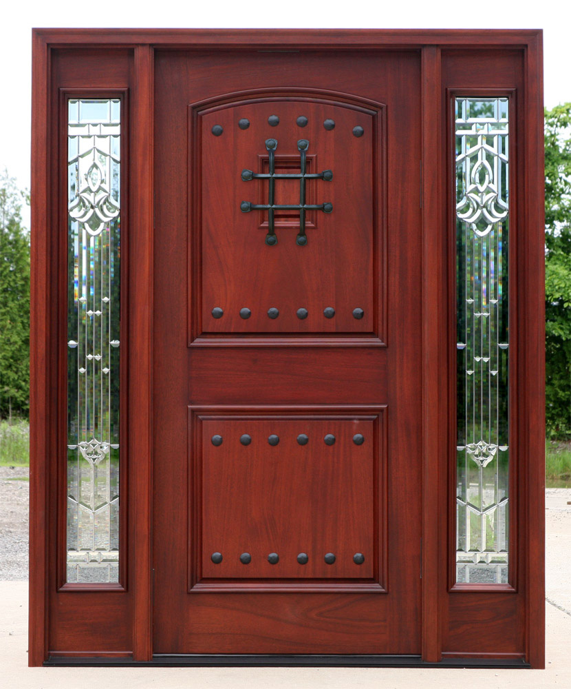 Red mahogany doors with sidelights pre finished for Mahogany entry doors