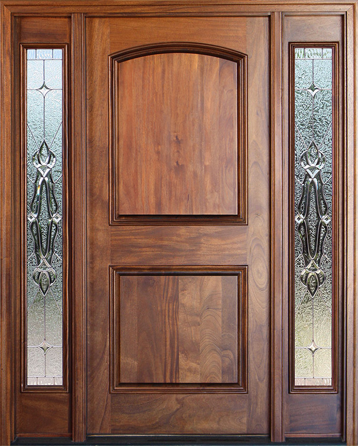 Exterior mahogany door with sidelights pre finished for Mahogany exterior door