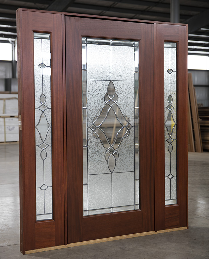 Exterior Mahogany Full Lite Doors With Sidelights