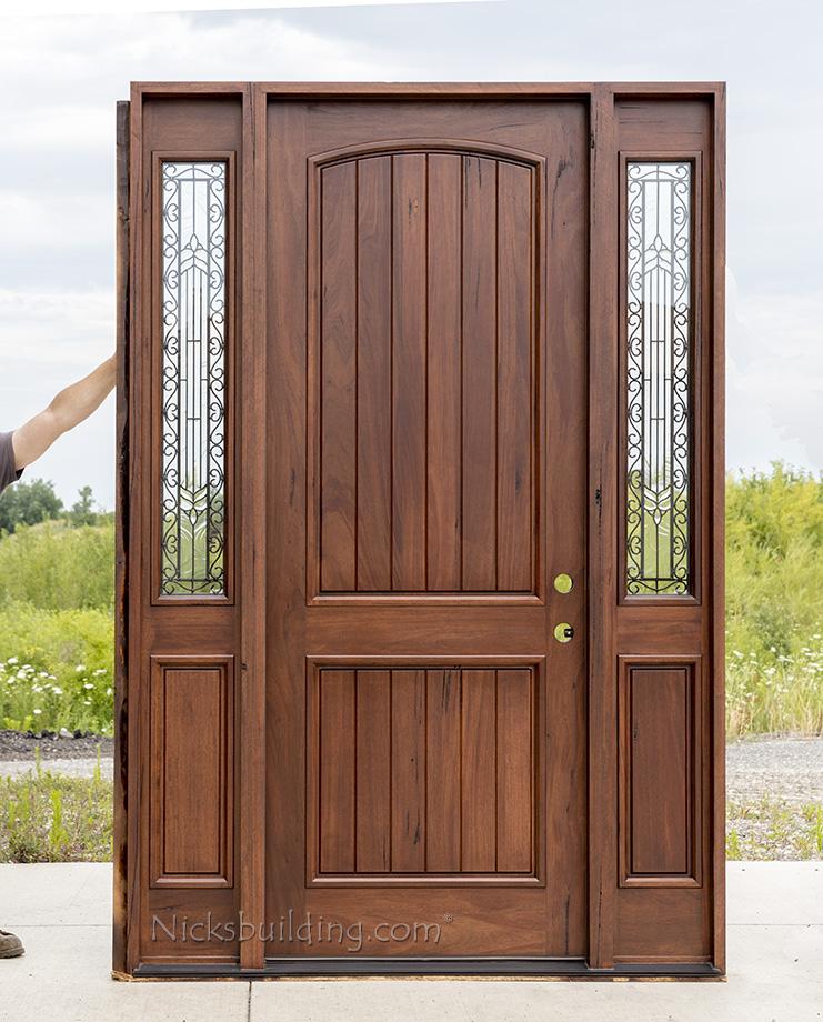Rustic teak exterior wood doors with sidelites for Rustic exterior doors