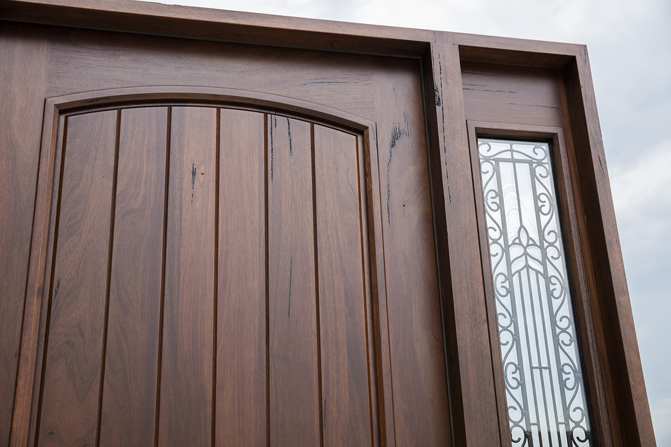 Rustic teak exterior wood doors with sidelites for Wood for exterior door