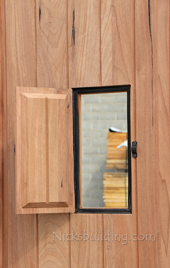 Teak Exterior Wood Doors With Speakeasy