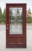 single mahogany prefinished door with glass