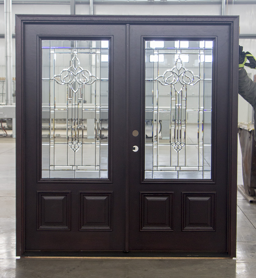 Prefinished exterior double doors with glass - Prefinished mahogany interior doors ...