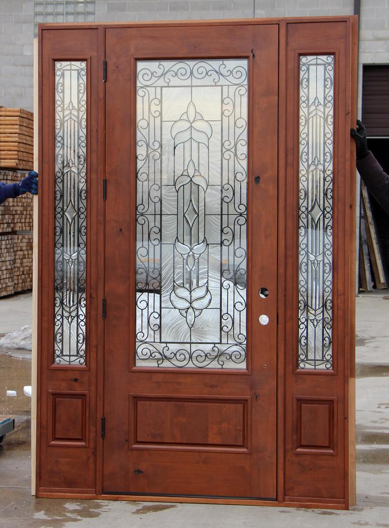 Rustic Iron Door With Sidelights