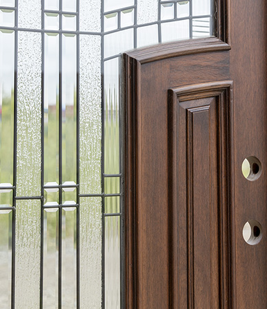 Mahogany Arched Top Double Doors With Sidelights