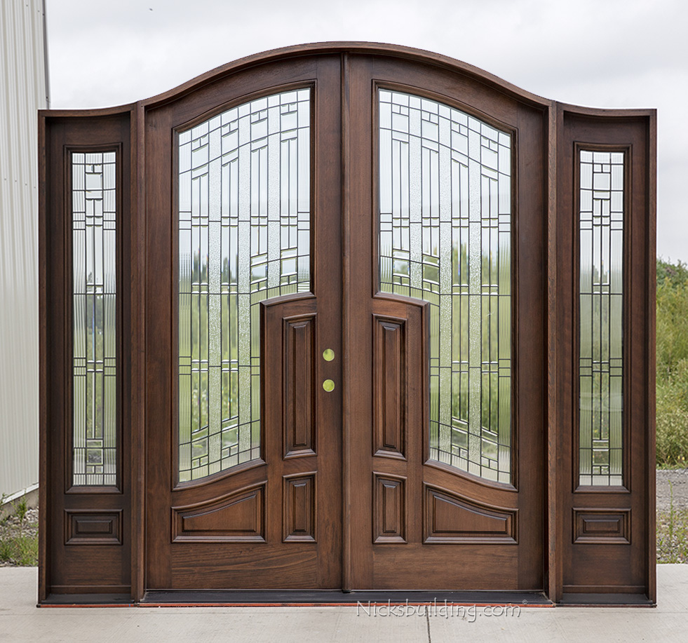 Mahogany arched top double doors with sidelights for Exterior double entry doors