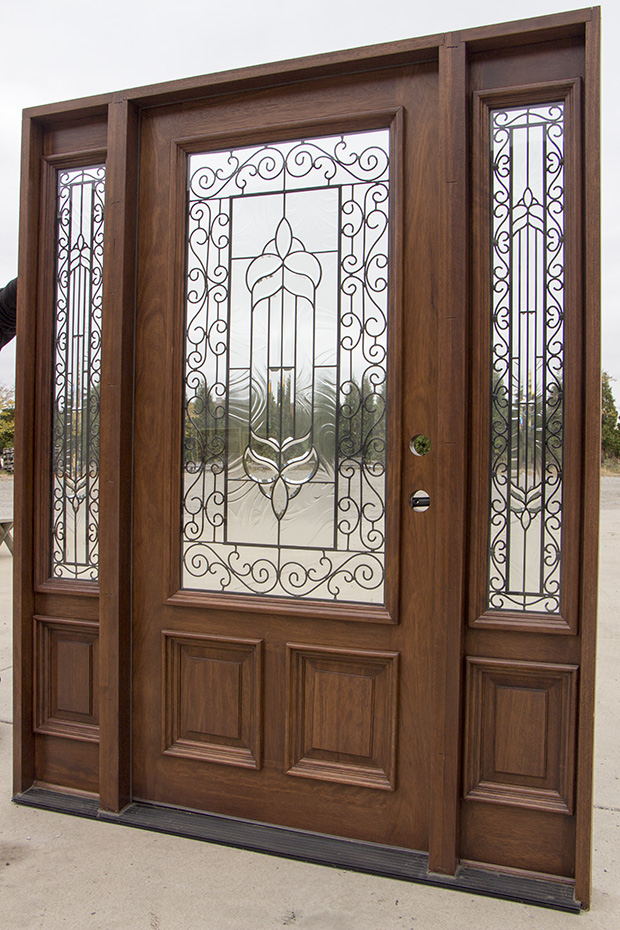 mahogany door with sidelights and elliptical transom