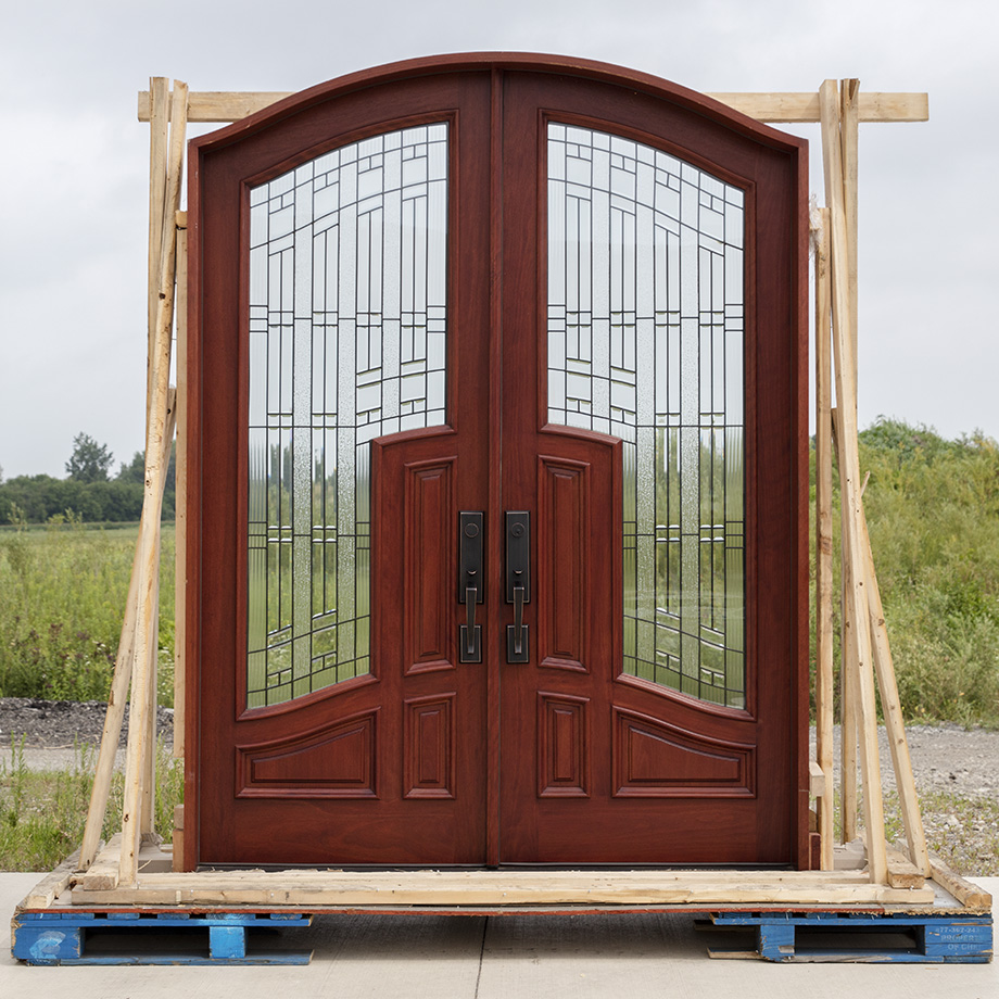Mahogany arched top double doors with 3 point locks for Cheap exterior doors for home
