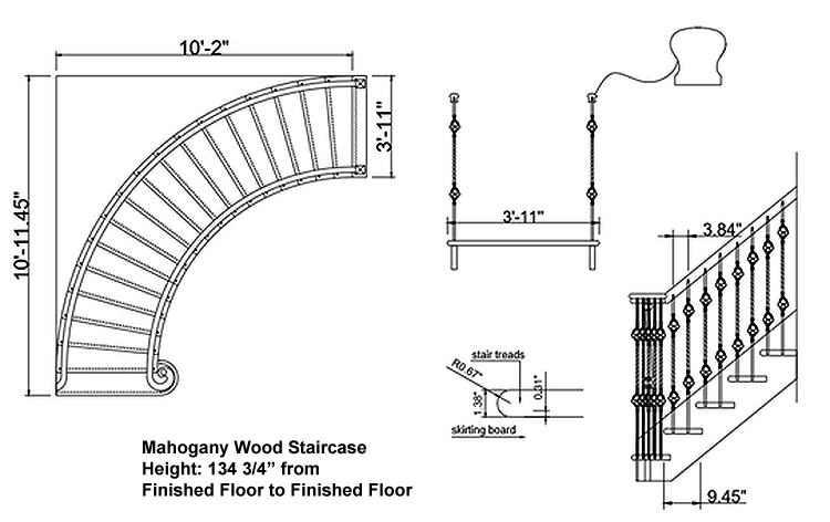 arched staircase clearance