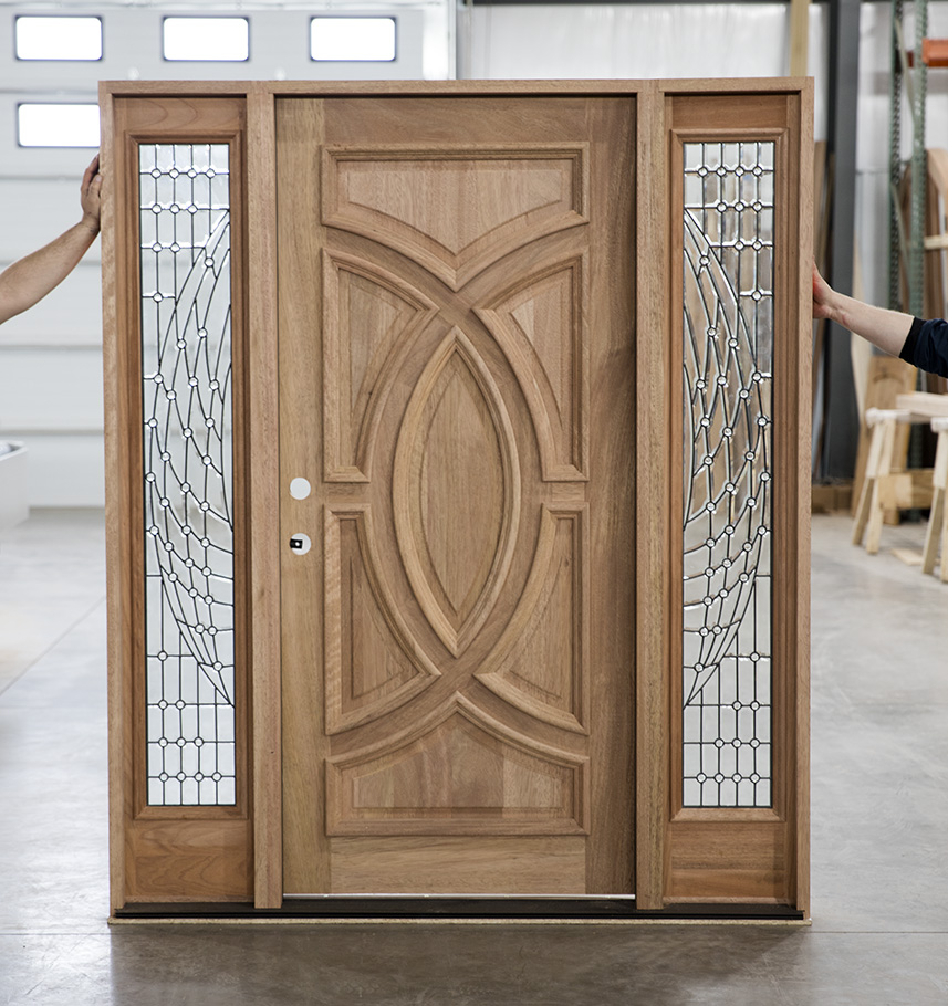 Solid Wood Entry Doors With Beveled Glass