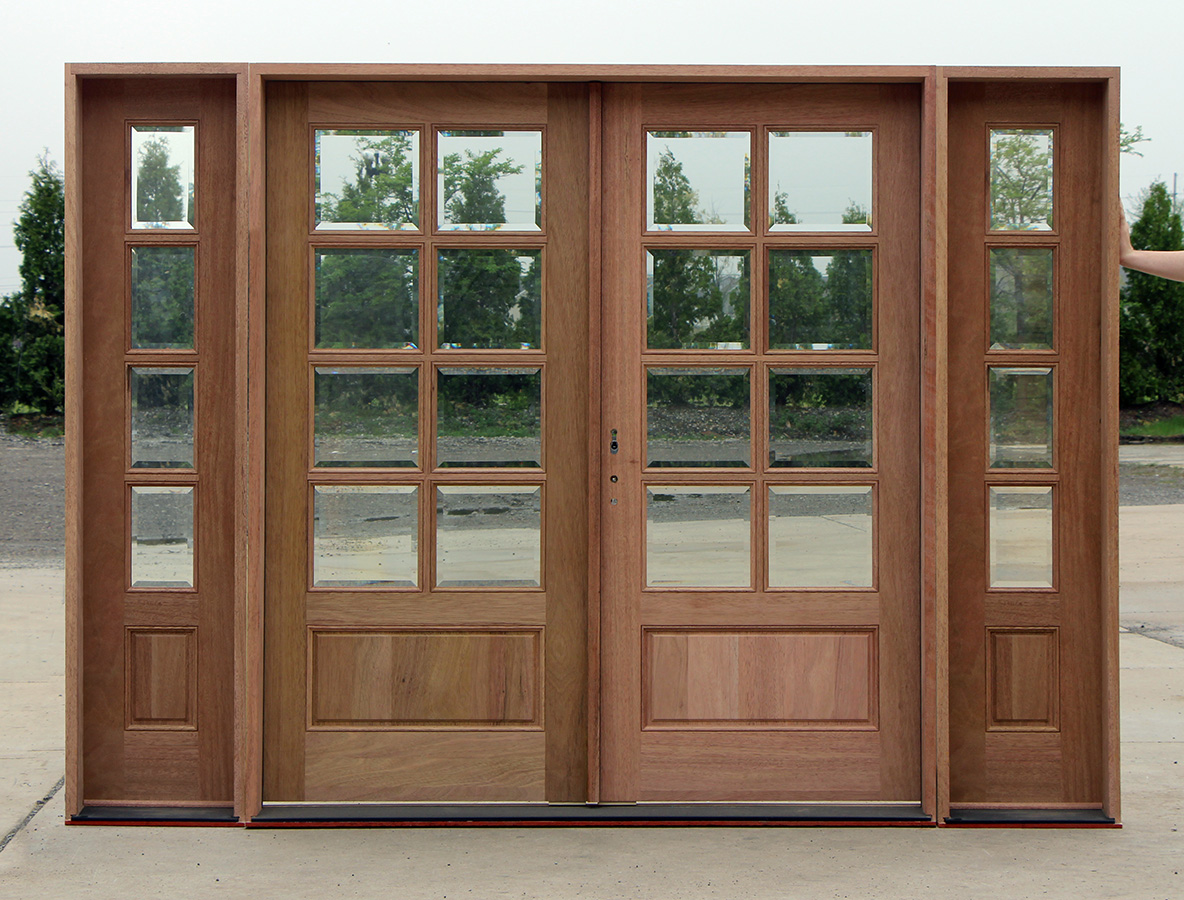 Exterior double doors with sidelights for Exterior front entry double doors