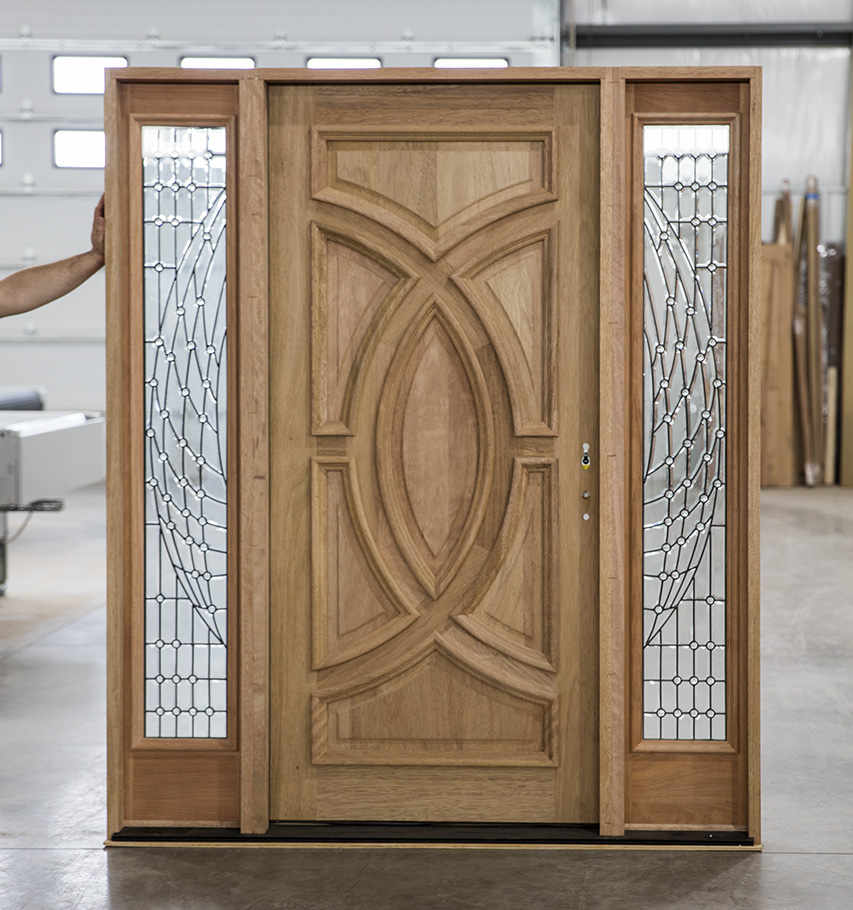 Solid Wood Entry Doors With 3 Point Locking System