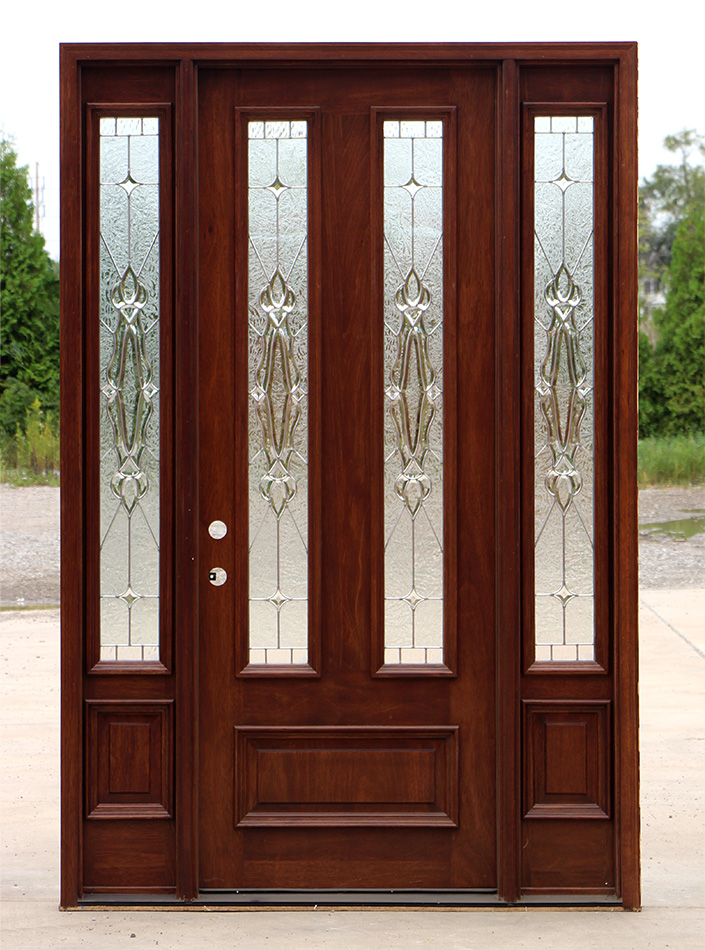 Mahogany front door and sidelights Prehung exterior door with sidelights