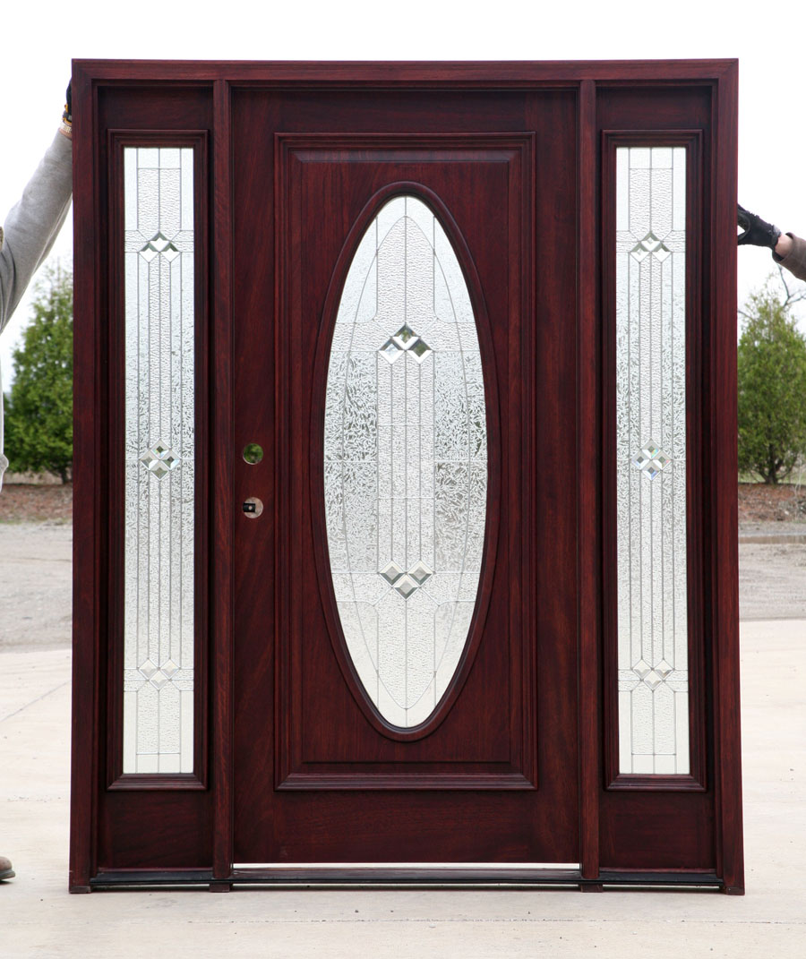Mahogany wood doors exterior with 2 sidelights for Wood for exterior door