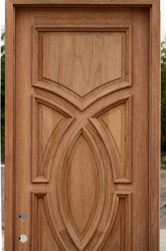 Solid Mahogany Entry Door With Circle Panels