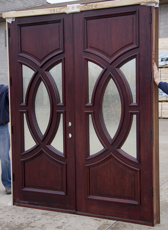 Clearance exterior double doors in red mahogany for Cheap exterior doors for home