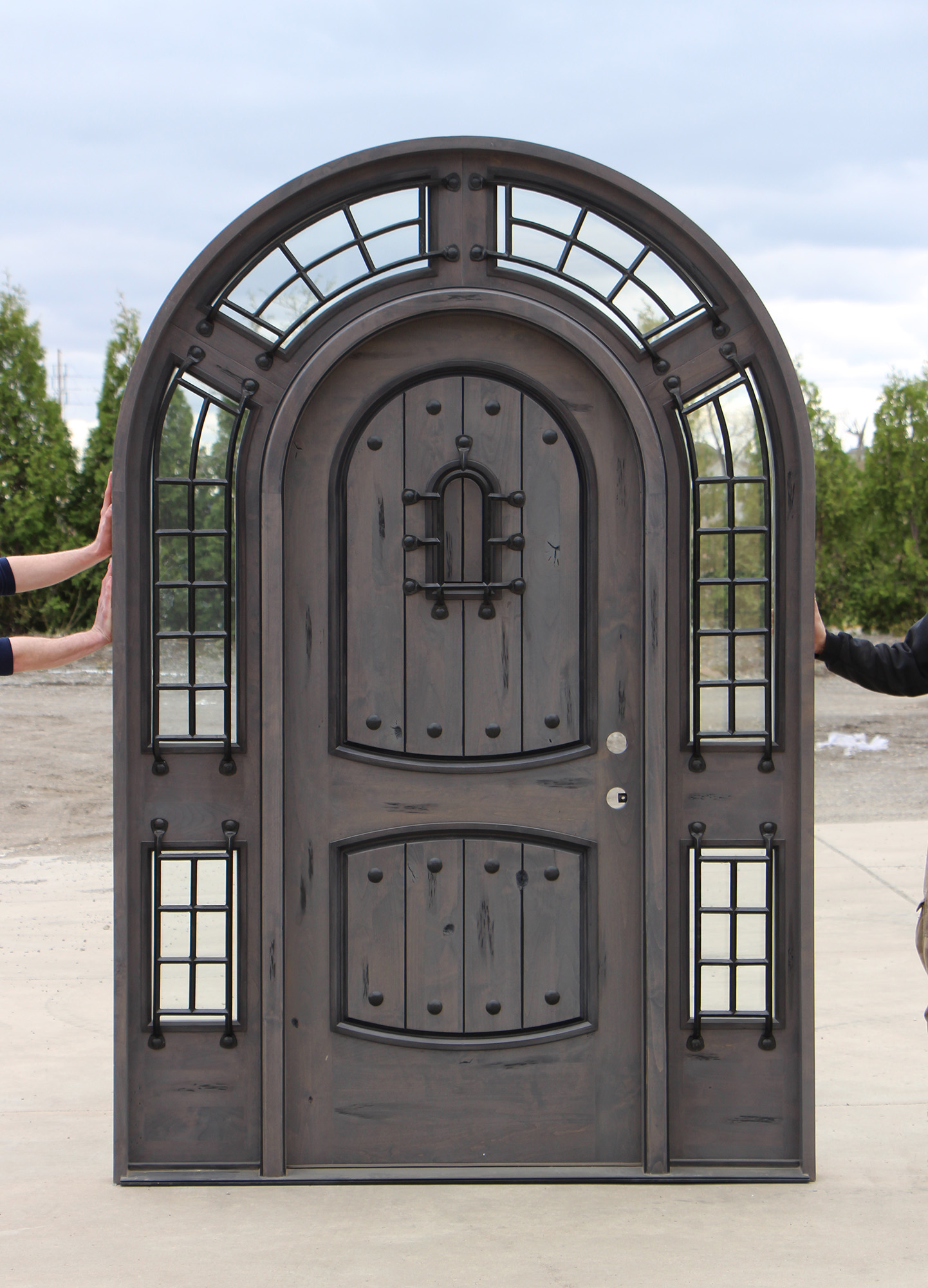 2000 #4F5C33 Knotty Alder Arched Door With Custom Finish Job save image Arch Doors Exterior 39771442