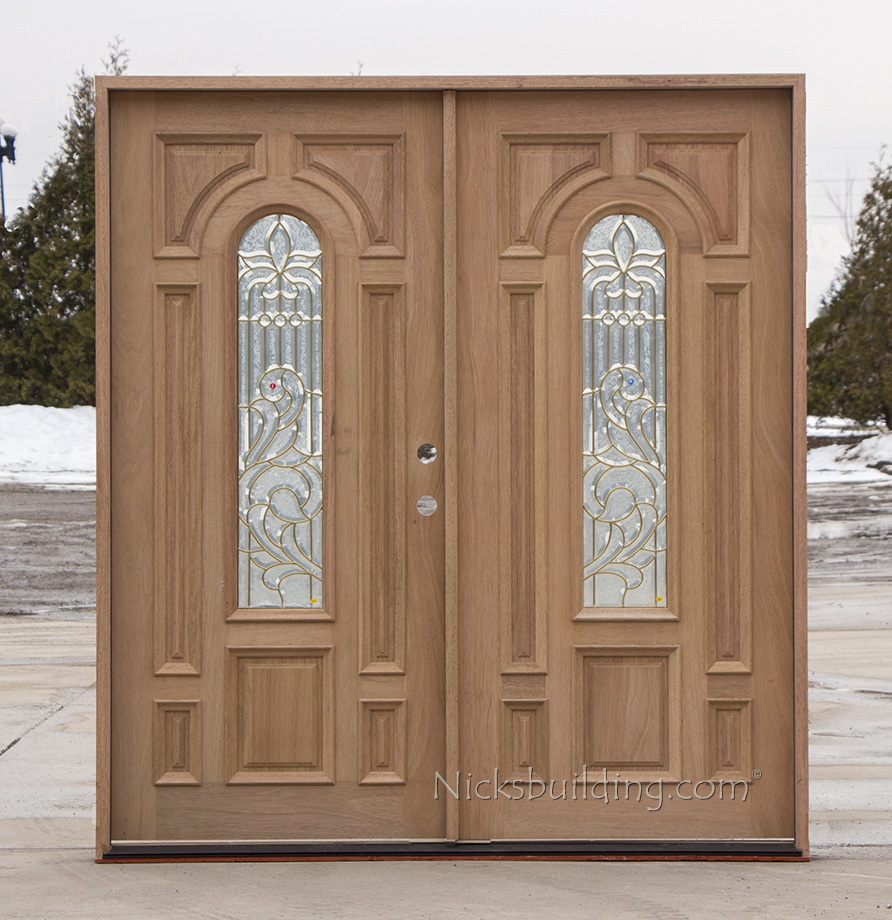 Solid Mahogany Exterior Double Doors Brass Came Cl 105